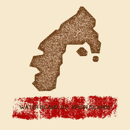 water s: Water Island, U.S. Virgin Islands distressed map. Grunge patriotic poster with textured island ink stamp and roller paint mark, vector illustration. Illustration