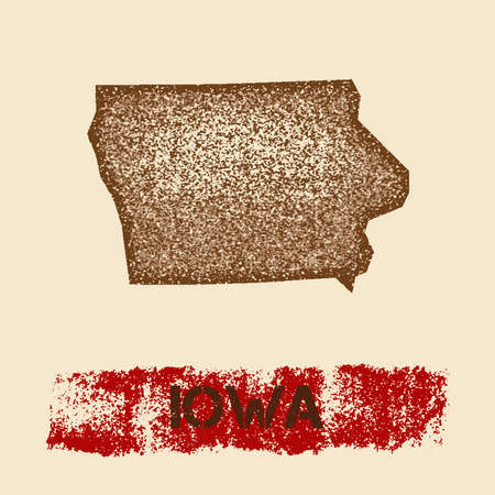 Iowa distressed map. Grunge patriotic poster with textured state ink stamp and roller paint mark, vector illustration.