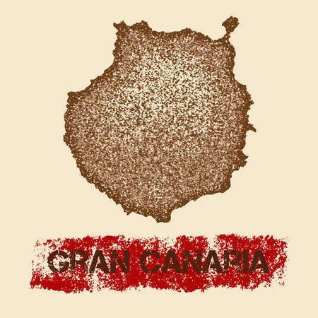 Gran Canaria distressed map. Grunge patriotic poster with textured island ink stamp and roller paint mark, vector illustration.