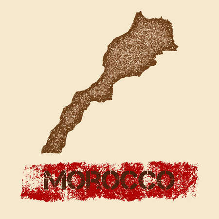 Morocco distressed map. Grunge patriotic poster with textured country ink stamp and roller paint mark, vector illustration.