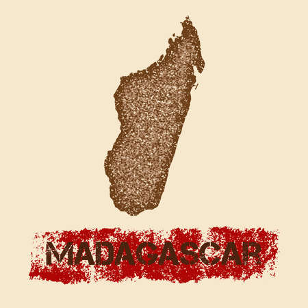 careless: Madagascar distressed map. Grunge patriotic poster with textured country ink stamp and roller paint mark, vector illustration.