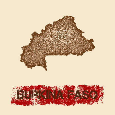 Burkina Faso distressed map. Grunge patriotic poster with textured country ink stamp and roller paint mark, vector illustration.