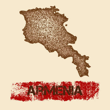 Armenia distressed map. Grunge patriotic poster with textured country ink stamp and roller paint mark, vector illustration.