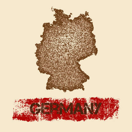Germany distressed map with a grunge feeling to it. Ilustração