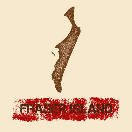 Fraser Island distressed map. Grunge patriotic poster with textured island ink stamp and roller paint mark, vector illustration. Illustration