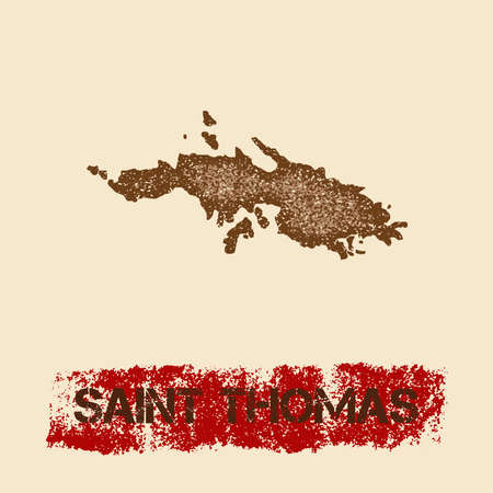 Saint Thomas distressed map. Grunge patriotic poster with textured island ink stamp and roller paint mark, vector illustration. Illustration