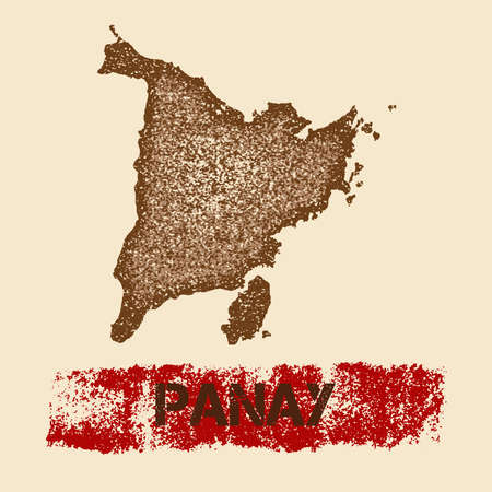 Panay verontruste kaart. Grunge patriottische poster met getextureerde eiland inkt stempel en roller verf mark, vectorillustratie.
