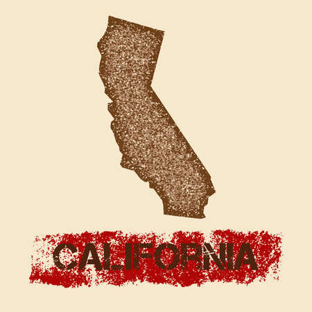 California distressed map. Grunge patriotic poster with textured state ink stamp and roller paint mark, vector illustration.