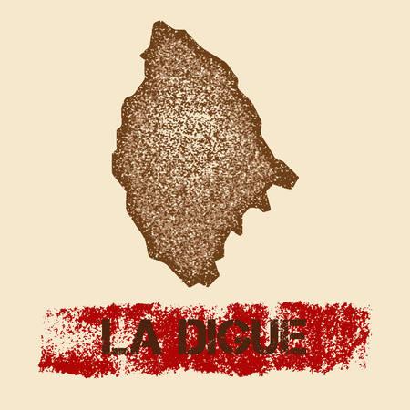 La Digue noodlijdende kaart. Grunge patriottische poster met getextureerde eiland inktstempel en roller verf mark, vectorillustratie.