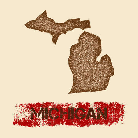 Michigan distressed map. Grunge patriotic poster with textured state ink stamp and roller paint mark, vector illustration.