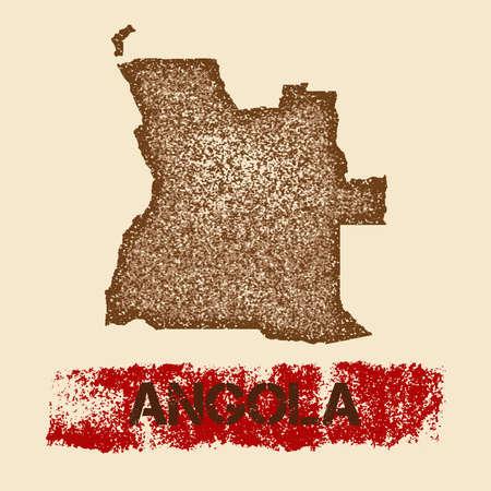 Angola verdrietige kaart. Stock Illustratie