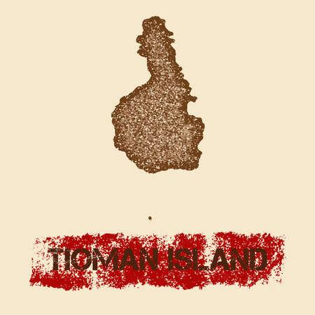 Tioman Island distressed map. Illustration