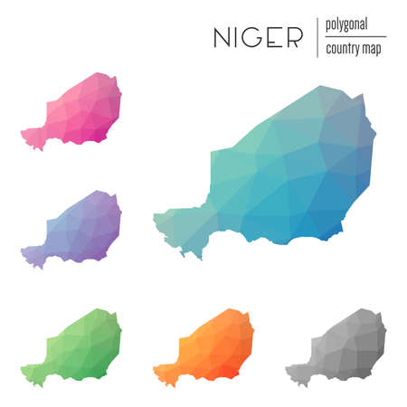 delta: Set of vector polygonal Niger maps. Bright gradient map of country in low poly style. Multicolored Niger map in geometric style for your infographics.