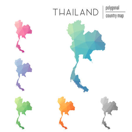 Set of vector polygonal Thailand maps. Bright gradient map of country in low poly style. Multicolored Thailand map in geometric style for your infographics.