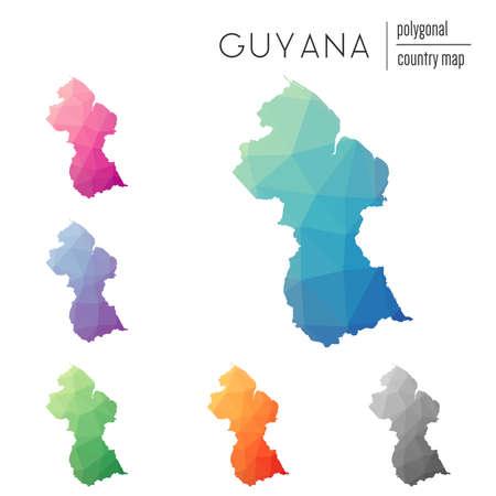Set of vector polygonal Guyana maps. Bright gradient map of country in low poly style. Multicolored Guyana map in geometric style for your infographics. Illustration