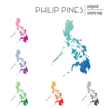 フィリピン マップの多角形のセットです。