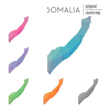 Set of vector polygonal Somalia maps. Bright gradient map of country in low poly style. Multicolored Somalia map in geometric style for your infographics. Illustration