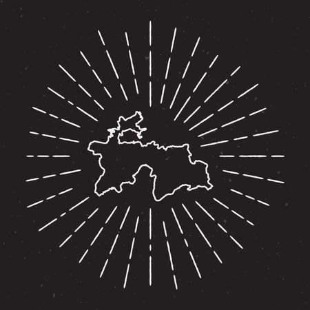 radiant: Tajikistan Vector Map Outline with Vintage Sunburst Border. Hand Drawn Map with Hipster Decoration Element. Radiant Light Rays around country Map on Black Background.
