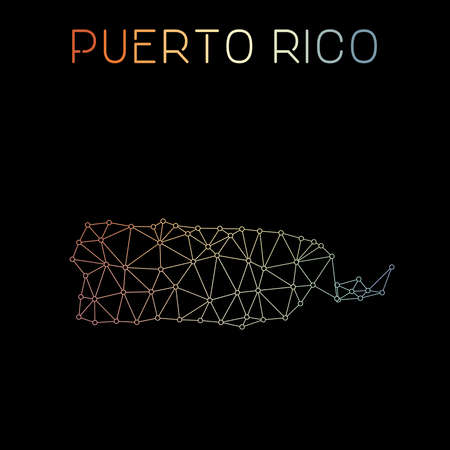 Puerto Rico network map. Abstract polygonal map design. Network connections vector illustration.