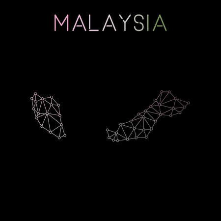 Malaysia network map. Abstract polygonal map design. Network connections vector illustration. Ilustração