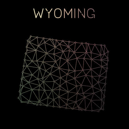Wyoming network map. Abstract polygonal US state map design. Network connections vector illustration.