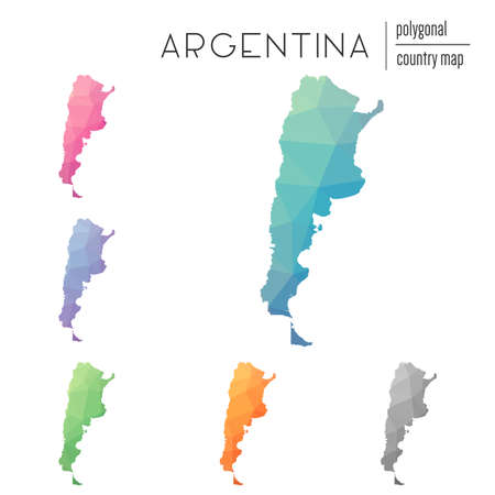 Set of vector polygonal Argentina maps. Bright gradient map of country in low poly style. Multicolored Argentina map in geometric style for your infographics.
