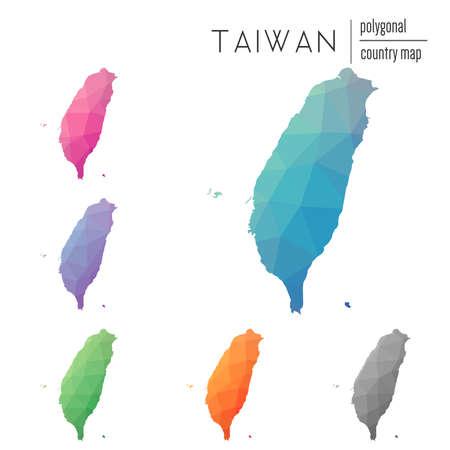 ベクトル多角形台湾、中華民国地図のセットです。低ポリ スタイルで国の明るいグラデーション マップ。色とりどりの台湾、中華民国、インフォ