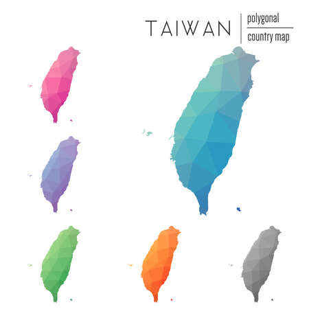 Set of vector polygonal Taiwan, Republic Of China maps. Bright gradient map of country in low poly style. Multicolored Taiwan, Republic Of China map in geometric style for your infographics.