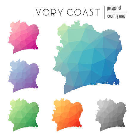 Set of vector polygonal Cote DIvoire maps. Bright gradient map of country in low poly style. Multicolored Cote DIvoire map in geometric style for your infographics.