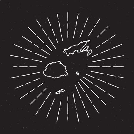 Fiji Vector Map Outline with Vintage Sunburst Border. Hand Drawn Map with Hipster Decoration Element. Radiant Light Rays around country Map on Black Background.