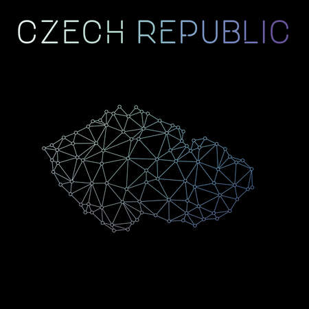 Czech Republic network map. Abstract polygonal map design. Network connections vector illustration.