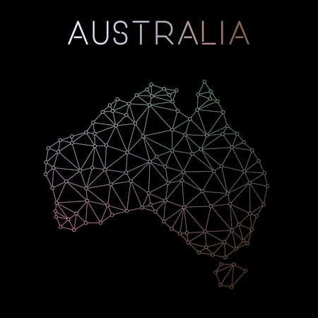 Australia network map. Abstract polygonal map design. Network connections vector illustration.