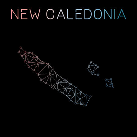 New Caledonia network map. Abstract polygonal map design. Network connections vector illustration.