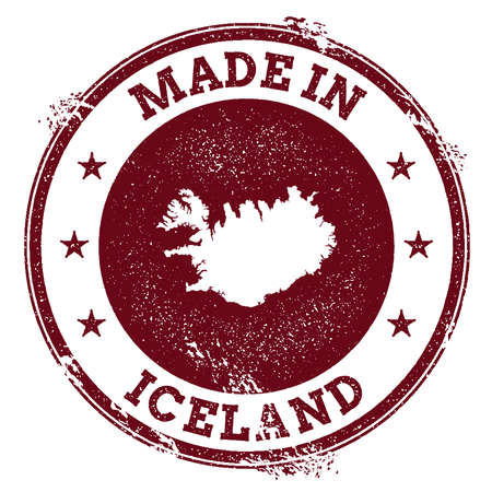 Iceland vector seal. Vintage country map stamp. Grunge rubber stamp with Made in Iceland text and map, vector illustration.