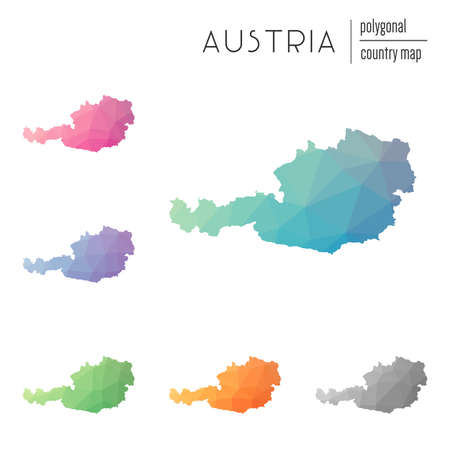 Set of vector polygonal Austria maps. Bright gradient map of country in low poly style. Multicolored Austria map in geometric style for your infographics.