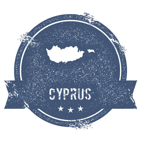 Cyprus mark. Travel rubber stamp with the name and map of Cyprus, vector illustration. Can be used as insignia, logotype, label, sticker or badge of the country. Illustration