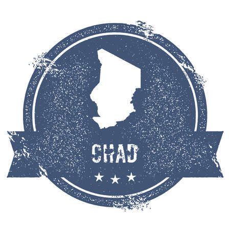 Chad mark. Travel rubber stamp with the name and map of Chad, vector illustration. Can be used as insignia, logotype, label, sticker or badge of the country. Logo