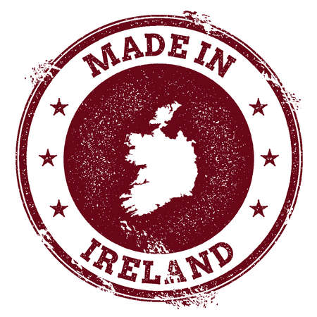 Ireland vector seal. Vintage country map stamp. Grunge rubber stamp with Made in Ireland text and map, vector illustration. Illustration