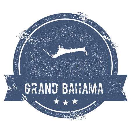 Travel rubber stamp with the name and map of Grand Bahama, vector illustration which can be used as insignia, label, sticker or badge.