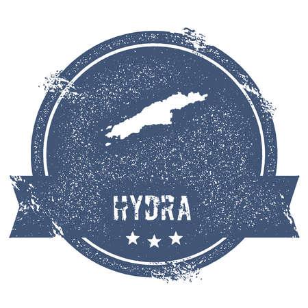이름과지도 히드라, 휘장, 레이블, 스티커 또는 배지로 사용할 수있는 벡터 일러스트와 함께 여행 고무 스탬프.