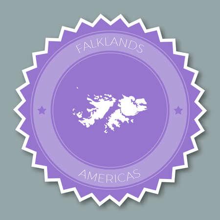 포클랜드 제도 (말 비나 스) 배지 플랫 디자인, 컨트리 맵과 이름이 새겨진 둥근 플랫 스타일의 스티커.
