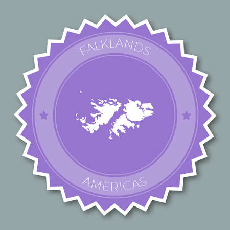 Falkland Islands (Malvinas) badge flat design, a Round flat style sticker of trendy colors with country map and name. Иллюстрация