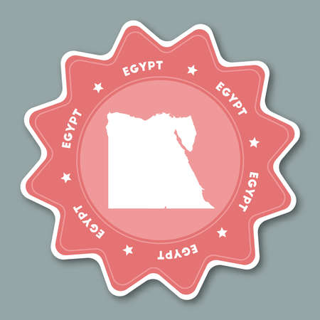 Star shaped travel sticker with country name and map of Egypt which can be used as badge, label, tag, sign, stamp or emblem.