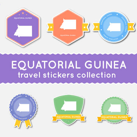 Big set of stickers with US state map and name of Equatorial Guinea, flat material style badges vector illustration.