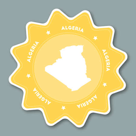 Star shaped travel sticker with Algeria name and map which can be used as badge, label, tag, sign, stamp or emblem.