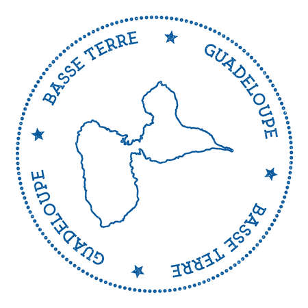 Basse-Terre Island map sticker, hipster and retro style badge, minimalistic insignia with round dots border, island vector illustration.
