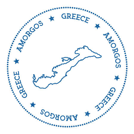 Amorgos map sticker, hipster and retro style badge, minimalistic insignia with round dots border, island vector illustration. Иллюстрация