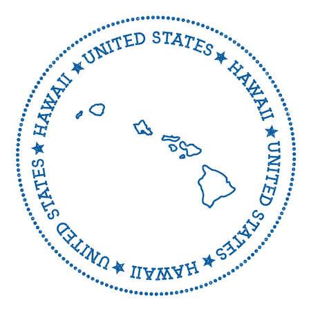 하와이지도 스티커, 힙합 및 복고 스타일 배지, 라운드 도트 테두리, 휘장 섬 벡터 그림. 스톡 콘텐츠 - 84705316