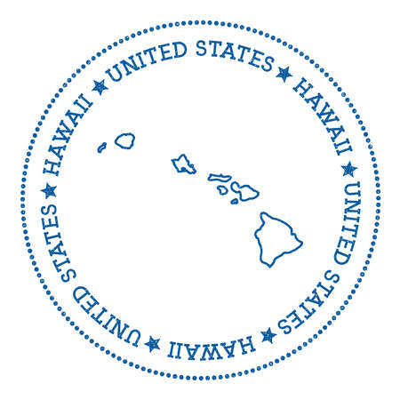 Hawaii map sticker, hipster and retro style badge, insignia with round dots border, island vector illustration.