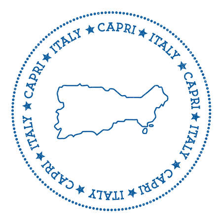 Capri map sticker, hipster and retro style badge, insignia with round dots border, island vector illustration.